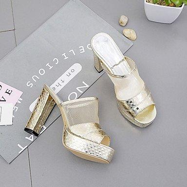 LvYuan Da donna Sandali PU (Poliuretano) Primavera Estate Quadrato Oro Argento 10 - 12 cm Silver