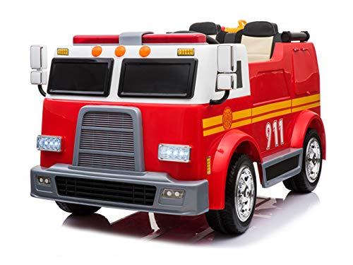 ES-TOYS Kinderfahrzeug - Elektro Auto Feuerwehrwagen - Doppelsitzer - 12V10AH Akku,4 Motoren+ 2,4Ghz+Wasserspritze+Sirene (Rot)