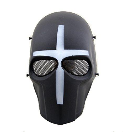 Worldshopping4U–Ganzgesichts-Schutzmaske für Airsoft, Paintball, Cosplay, Hockey, Halloween, als Kostüm, Schwarz/lächelnd/Kreuz/Totenkopf, White ()