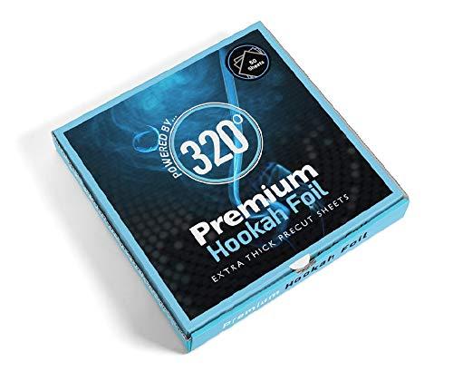 320° Premium Cachimba Hookah Shisha Foil de Aluminio - Extra Thick Precut Sheets - 50 Hojas - 40 Micron...