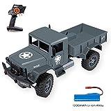 FREE TO FLY Rc Auto Kinderspielzeug Lastwagen Militärfahrzeug mit wiederaufladbare Li-ion-Akku 1/12 Maßstab 2,4GHz 4WD Antrieb 1200G Last LKW 30 Minuten Spielzeit für Kinder Jungen Mädchen
