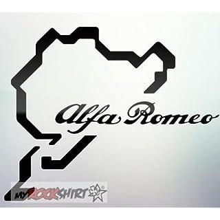 Alfa Romeo Nordschleife Nürburgring 15 cm Aufkleber,Sticker von myrockshirt ®, Autoaufkleber,Auto,Lack,Scheibe, Tuning , Racing aus Hochleistungsfolie ohne Hintergrund Profi-Qualität viele Farben zur Auswahl MADE IN GERMANY