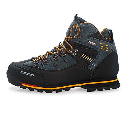 Gomnear de los Hombres Botas de montaña Alta Subida Trekking Zapatos Antideslizante Respirable Impermeable para Caminar Alpinismo (UK7.5/EU42, Amarillo Negro)