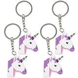 com-four 4 Einhorn Schlüsselanhänger aus Gummi, Unicorn Anhänger in weiß/lila/pink (04 Stück - Gummi weiß/lila/pink)