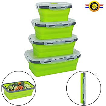 Qimh 4 Pack Flat Stacks Collapsible Food Storage ContainersSilicone Collapsible Lunch Bento Box (B-4)  sc 1 st  Amazon UK & Wowzr! Flat Stacks Collapsible Food Storage Containers ... Aboutintivar.Com