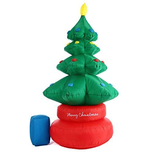 Bakaji Albero Di Natale Gonfibile Rotante Autogonfiabile Grande Altezza 210 cm Movimento Rotazione Automatica a 360° Con Kit Fissaggio Per Esterno Protezione IP44 Addobbo e Decorazione Natalizia