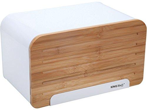 Boîte à pain élégante et tendance avec couvercle en bois (planche à découper) Weiß