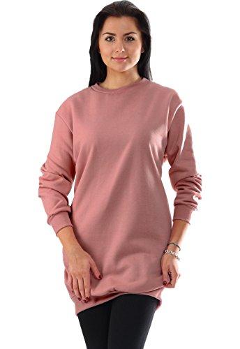 Oversize Pullover Sweatshirt Damen Sweater - VIELE Farben - Pulli Hipster Longshirt Oversized Shirt (S/M, Alt Rosa) Rosa Pullover Shirt