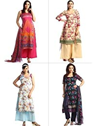Adhira - Combo Of 4 Cotton Rich Printed Suit Materials