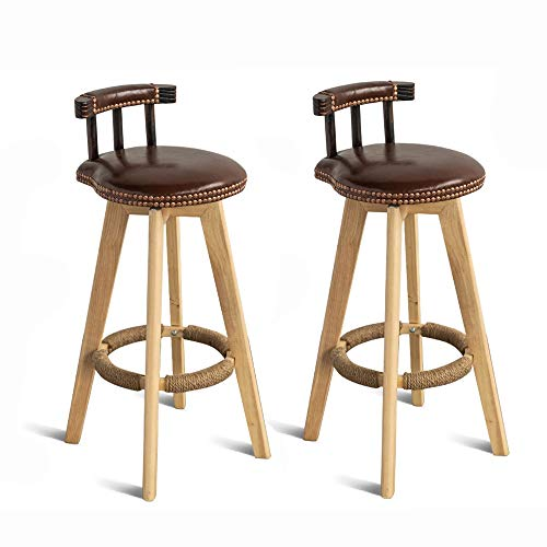 "SANSHUI Holz Barhocker, 29"" Drehbare Rücken Retro Home High Hocker Insel Esstisch Dining Chair 2 Set 1112 (Color : Brown)"