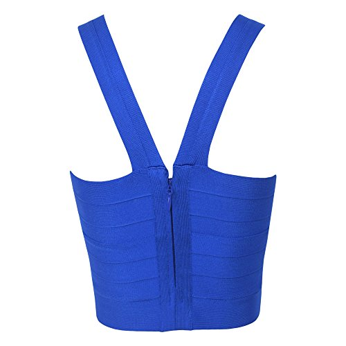 HLBandage Frauen Reizvolle Gestrickte Elastische Verband Weste Tops Blau
