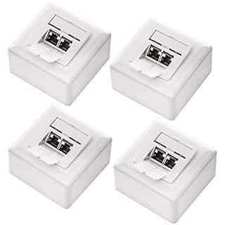 deleyCON 4X CAT 6a Universal Netzwerkdose - 2X RJ45 Port - Geschirmt - Aufputz oder Unterputz - 10 Gigabit Ethernet Netzwerk - EIA/TIA 568A&B - Weiß