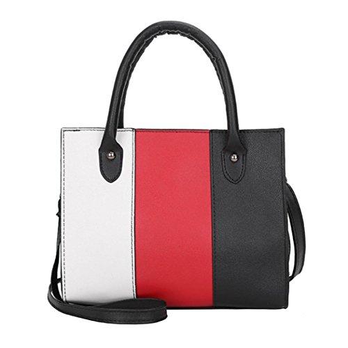 VJGOAL Damen Schultertasche, Frau Mädchen Tote Casual Crossbody Hit Farbe Leder Büro Handtasche Schultertasche Frau Geschenk (25*12*20cm, Rot) (Rote Leder-set)