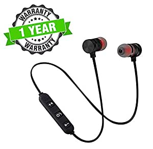 Kingsford Magnetic Wireless Bluetooth Earphones Headset with Mic for Handsfree Calling, Noise Cancelling for Redmi, Xiaomi, Vivo, iPhone and Other Smartphones