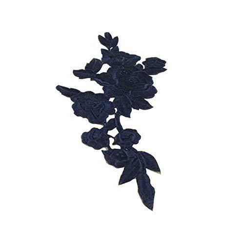 Trimming Shop Rose Design Motiv Bestickt Flicken, Blumenmuster Abzeichen, Zum Aufnähen Applikationen für Bekleidung Reparatur, Beutel, Jacken, Rucksack, Mode-Accessoires, 5 Stück - Marineblau
