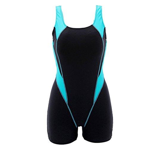 KYL Damen Badeanzug mit Bein Sport Schwimmanzug