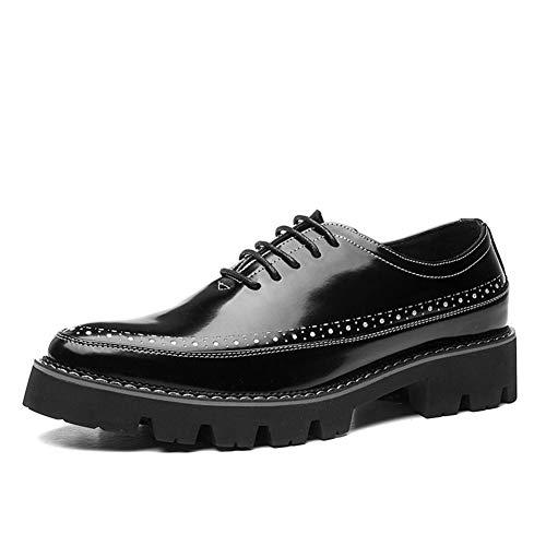 HONG YI-SHOES Herrenhalbschuhe Lace Männer Oxfords for Freizeitschuhe Up Spitzschuh Patent Low Top Anti-Rutsch-Höhe zunehmende Wasserdicht Brogue Perforierte Strapazierfähige Oxford-Schuhe