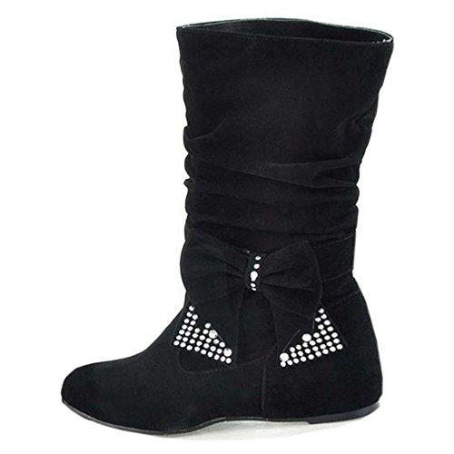 Solshine Damen Süße Wildleder Halbschaft mit Schleife Strass Keilabsatz Stiefel Boots Größe 35-43