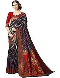 Soru Fashion Women's Banarasi Art Silk Saree with Blouse Piece (Cott-692_Dark Blue)