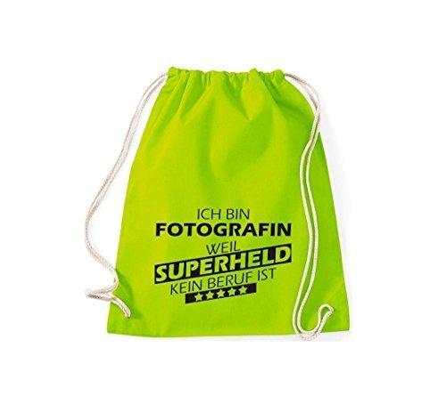 Shirtstown Borse palestra Ich bin Fotografo, weil Super eroe niente Occupazione è - Arancione, 37 cm x 46 cm lime