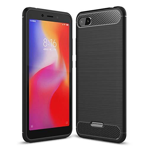 König Design Handy-Hülle geeignet für Xiaomi Redmi 6A Hülle Silikon Schwarz Carbon Optik Case TPU Handyhülle Bumper