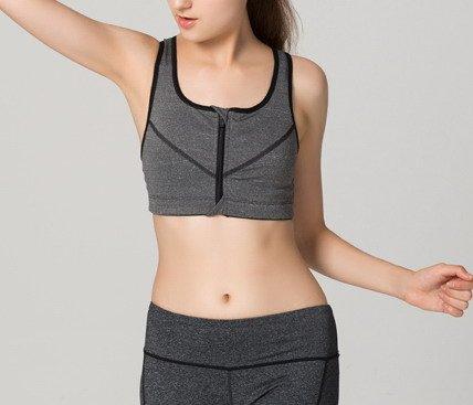 Smile YKK Brassière Sport Femme Soutien-gorge Yoga avec Zip Casual Unie Gris