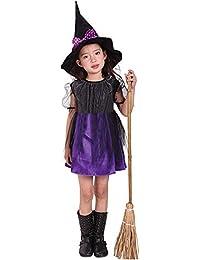 ZODOF Falda de Bruja de los niños de Halloween Niño pequeño Niños Bebés Disfraces de Halloween Vestido de Fiesta Vestidos + Traje de Sombrero