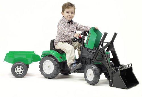 Falk Lander Z160x With Opening Bonnet + Loader + Trailer Pedal Tractor