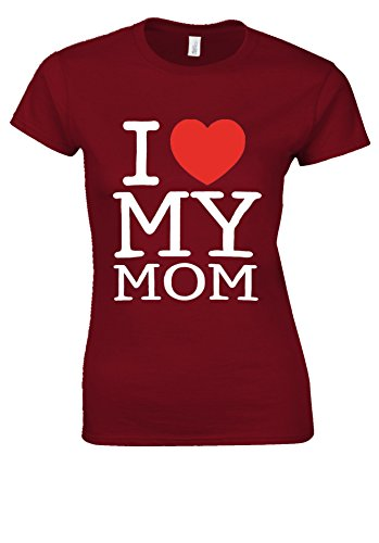 Mothers Day I Love My Mom Heart Novelty Cherry Red Women T Shirt Top-XL (I Mom-tattoo Heart)