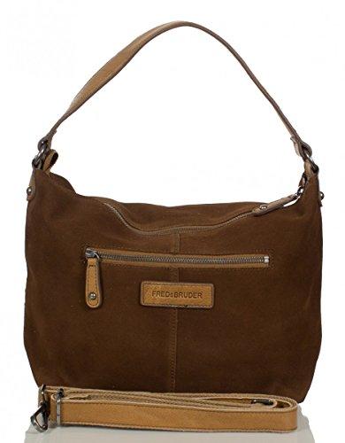 FREDsBRUDER sac 'Knautschzone' sac à bandoulière en cuir de vachette ciré daim mélange (33 x 26 x 10 cm) Brown (Dark Camel)