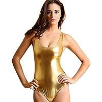 TiaoBug Womens Wet Look High Cut Thong Leotard Bodysuit Gymnastics Dancewear Swimsuit