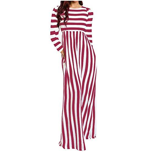 Malloom-Bekleidung Mode Frauen Strand Oansatz Langarm Gestreiften Taschen Kleid Gestreiftes Kleid Mit Langer Ärmeltasche Und o-Ausschnitt -