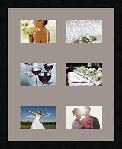 Cadres photos pêle mêle multivues 6 photo(s) 15x10 Passe Partout, Cadre photo mural 40x50 cm Noir, 3 cm de largeur