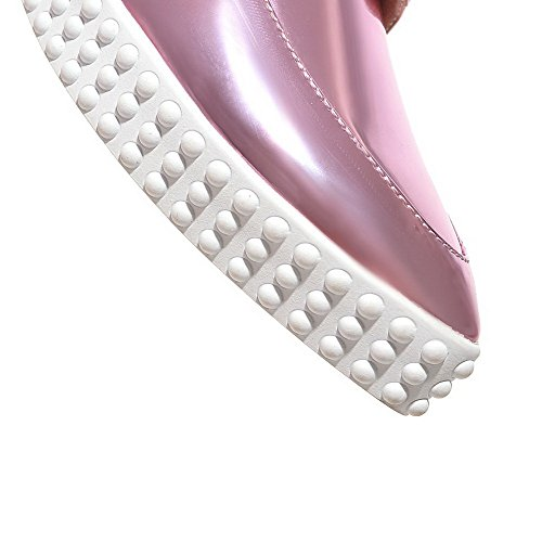 AgooLar Femme Pointu Lacet Pu Cuir Couleur Unie à Talon Bas Chaussures Légeres Violet