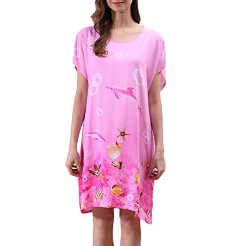 Zhhlaixing Summer Elegant Womens Round Neck Princess Sleep Skirt Pajamas One Size pink