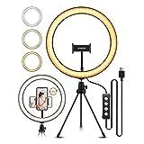 LED ringlicht statief ELEGIANT 10.2 inch selfie ringlamp make up dimbaar 3 lichtkleuren 11 helderheidsniveaus te maken statiefstaaf telefoonhouder voor YouTube Live Stream selfie portret Volg make up