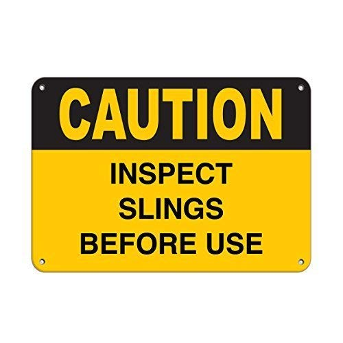 Tomlinsony Blechschild Metal Tin Sign Aluminum Caution Inspect Slings Before Use Sign 12