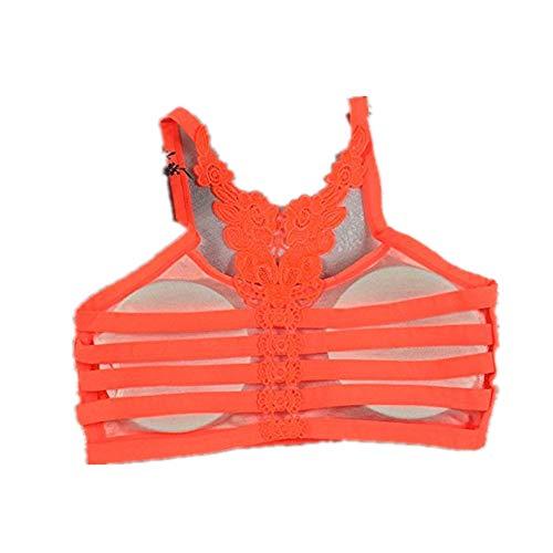 DAY.LIN Soutiens-Gorge Femmes Sexy Respirant Yoga Soutien-Gorge sous-vêtements de Sport Athlétique sans Armature Lingerie Brassière Wrap Poitrine Vest Sangle(Taille Unique,Orange)