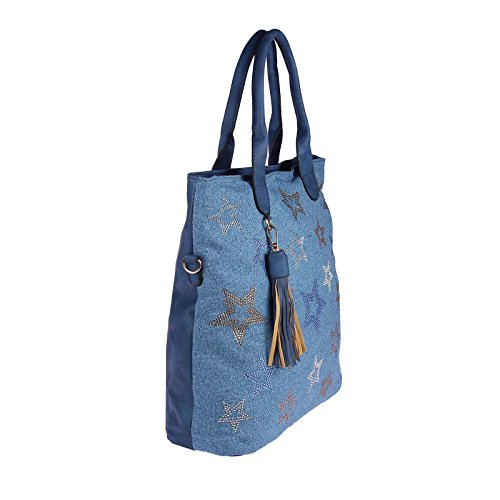 OBC Only-Beautiful-Couture, Borsa tote donna beige Beige-Gold 38x37x13 ca.: 38x37x13 cm (BxHxT) Blau 38x37x13
