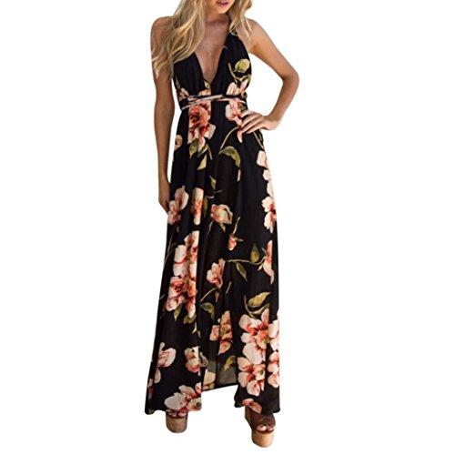 Gedruckt V-ausschnitt Kleid (kleid damen Kolylong® Frauen V-Ausschnitt elegantes Blumen gedrucktes langes Kleid Sommer rückenfreies Kleid Party Kleid Strandkleid Abendkleid (S, Schwarz))
