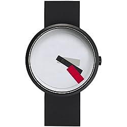 "Projects Watches (Denis Guidone) ""Suprematism Red"" Edelstahl IP Schwarz Weib Rot Silikon Uhr Unisex"