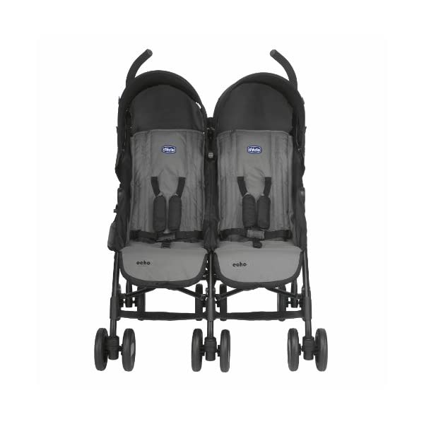 Chicco Echo Twin Stroller Coal - Black  With elliptical frame tubes in contemporary angles Features elegant stay clean wheels with repeat logo details to match name seat graphic Lockable front swivel wheels 10