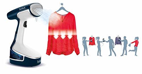41NrRvxJR4L - Tefal DR8085 Access Steam Handheld Garment Steamer, Travel/Portable, 1500 Watt, White/Blue