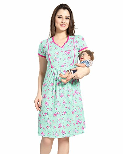 AV2 Women Printed Feeding / Maternity / Nursing Nightdress, Short Nighty