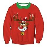 SEWORLD Weihnachten Sweatshirt Kapuzenpulli im Freien Damen Langarm Warmer O-Ausschnitt Sport Lose Digitaldruck Outwear Pullover Tops Bluse (Rot,EU-42/CN-XL)