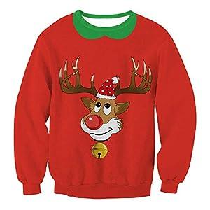 Damen Weihnachtspullover Rundhals Langarm Christmas Sweater 3D Elch Drucken Sweatshirt Neuheit Rot Top
