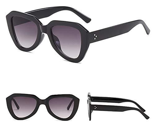 WSKPE Sonnenbrille Cat Eye Sonnenbrille Gradient Gläser Kunststoff Sechskant Sonnenbrille Uv400 Schwarzen Rahmen Doppelter Grauer Linse