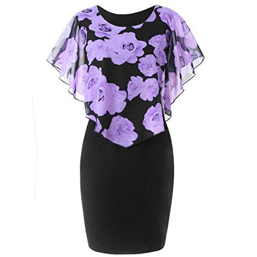 Moonuy Damen Kleid, Damen Kurzarm Kleid, 2018 Fashion Casual Plus Size Rock Bleistiftrock Sommerkleider Abendkleid Rose Print Chiffon O-Ausschnitt Rüschen Minikleid (EU 40/Asien XL, - Lila Kleid Chiffon-langes