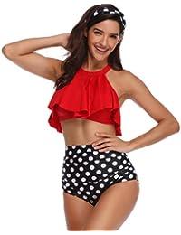 142b2b14d Mymyguoe Mujer Bikinis Dividida Traje de baño Bikini de Punto de Onda con  Volantes Tops de