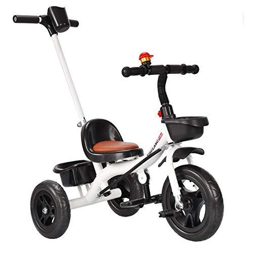 Baby Trikes, Kinder Dreirad für 18 Monate bis 5 Jahre Mit Multifunktions-3-Rad-Schiebegriff Lernfahrrad (Color : White)